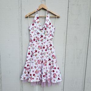 Floral pink halter dress